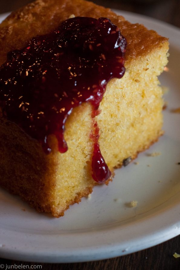 Just for You Cafe's Cornbread with Strawberry Jam