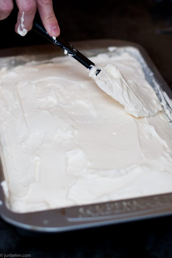 Spread the topping evenly over the cake.