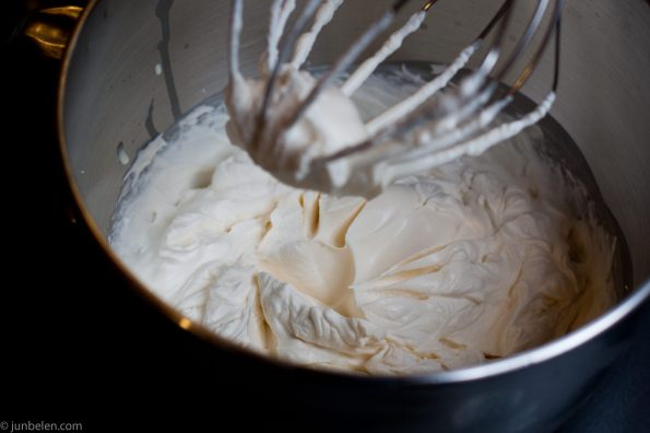 Heavy cream, sugar and vanilla whisked until thick.