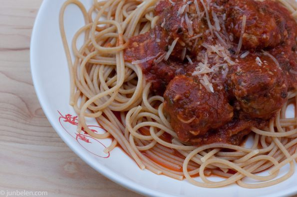 Homemade Polpette with Spaghetti